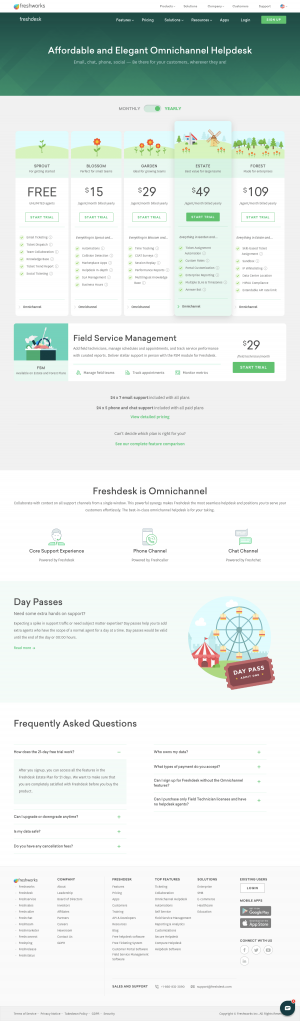 Freshdesk - Pricing page