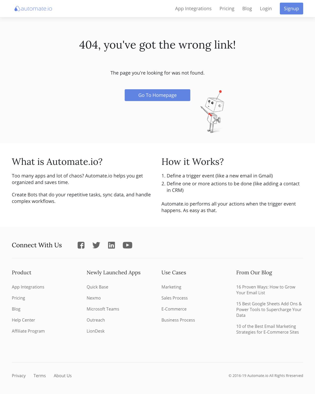 Automate.io - 404 Error page