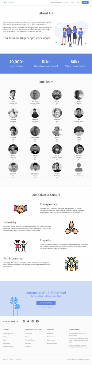 Automate.io - About us page