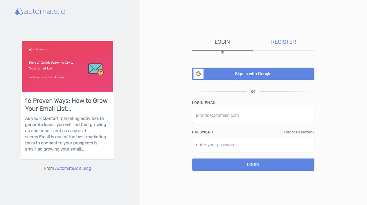 Automate.io - Login page