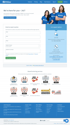 AWeber - Contact page