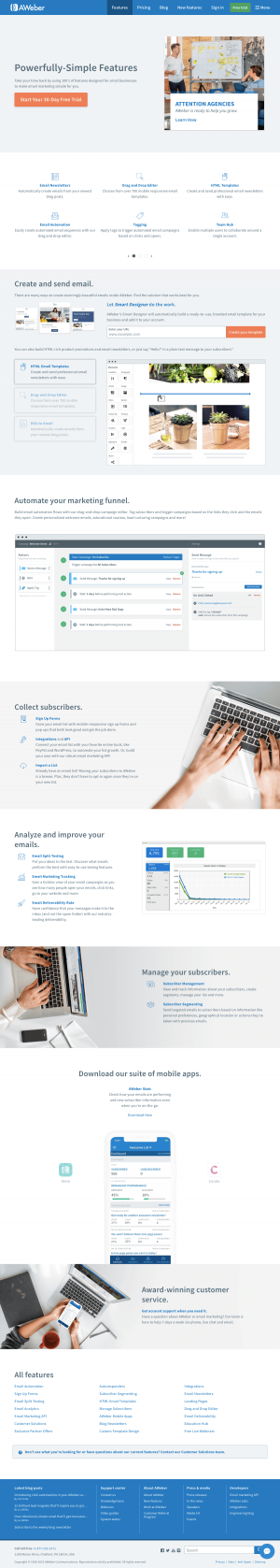 AWeber - Features page