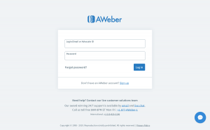 AWeber - Login page