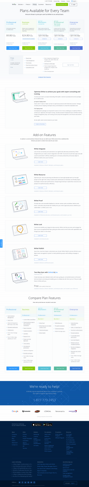 Wrike - Pricing page