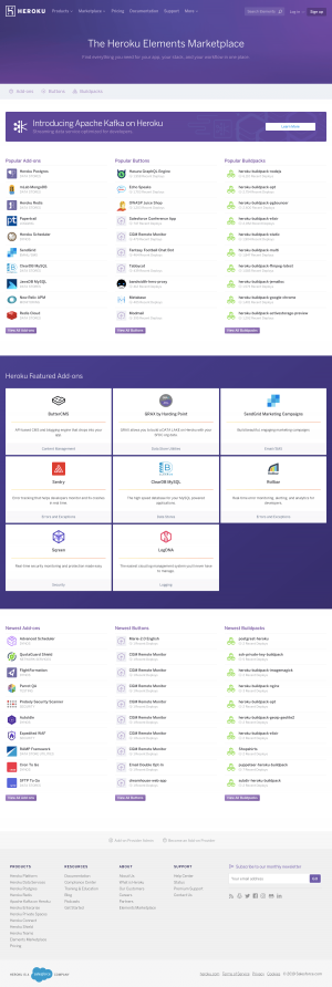Heroku - Integrations page