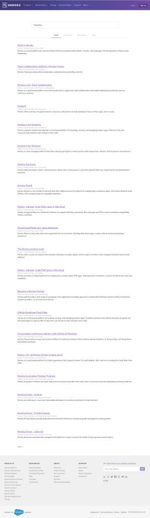 Heroku - Search results page