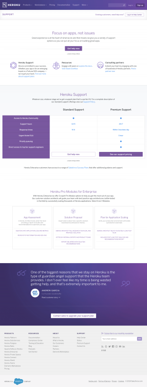 Heroku - Support page