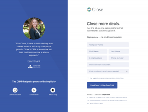 Close - Sign up page