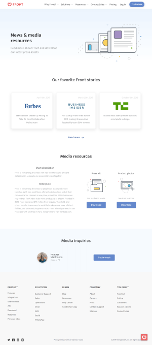 Front - Media kit page
