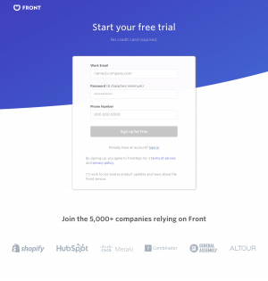 Front - Sign up page