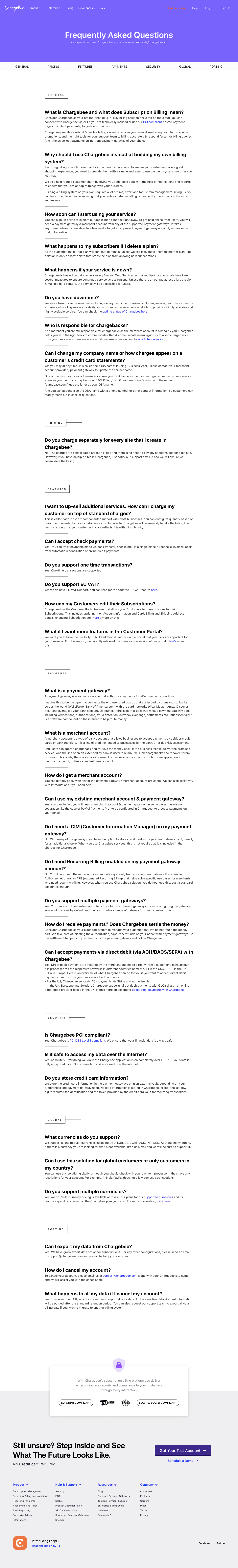 Chargebee - FAQs page