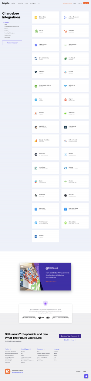 Chargebee - Integrations page