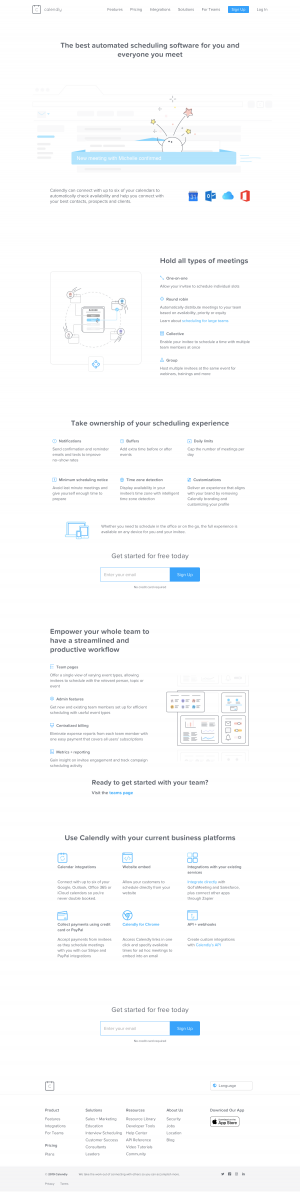 Calendly - Features page 1
