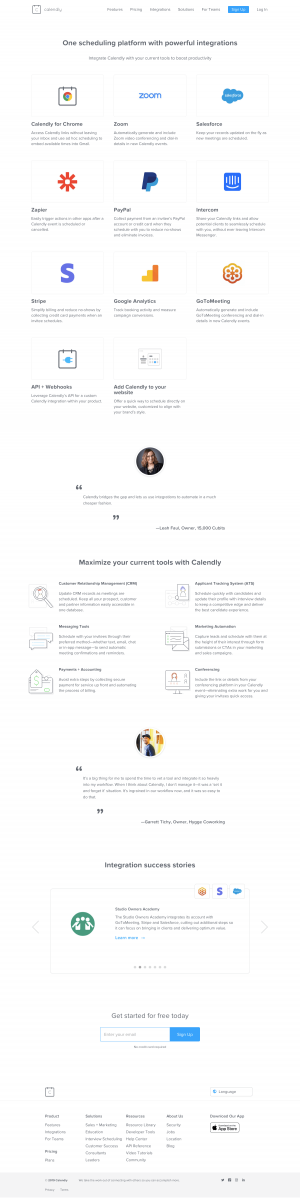 Calendly - Integrations page