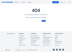 Atlassian - 404 Error page