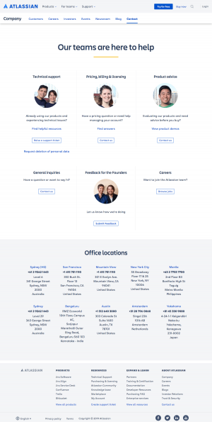 Atlassian - Contact page