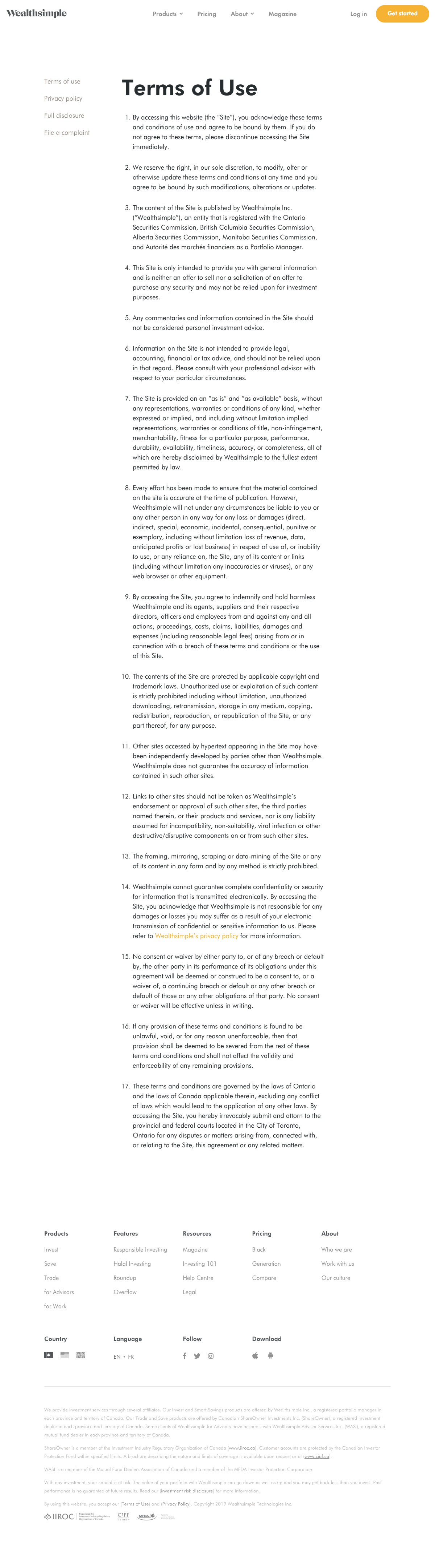 Wealthsimple - Legal page