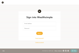 Wealthsimple - Login page