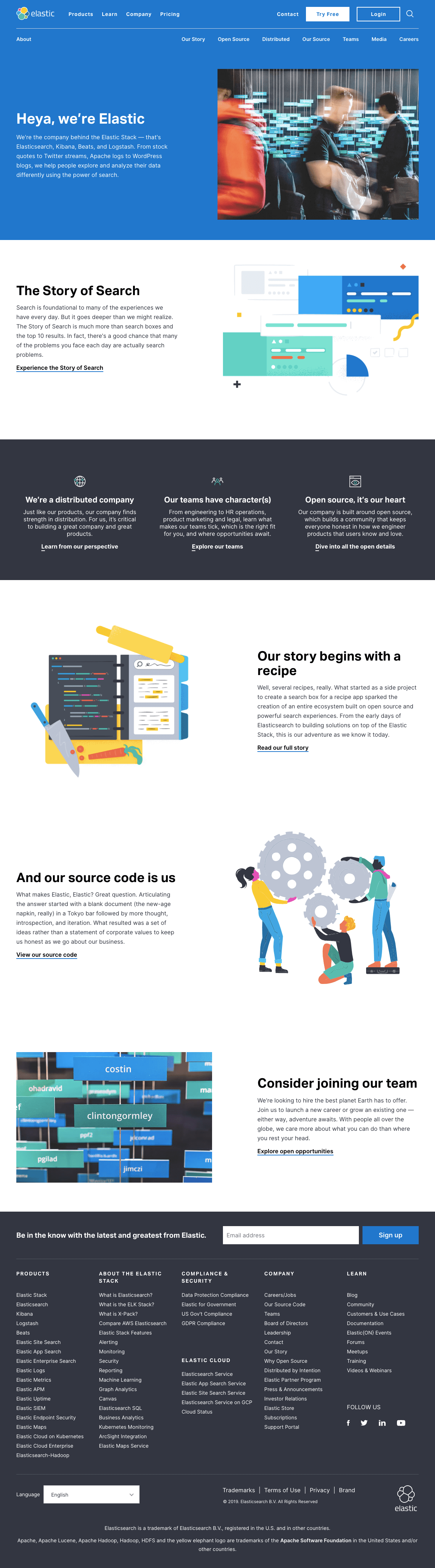 Elastic - About us page