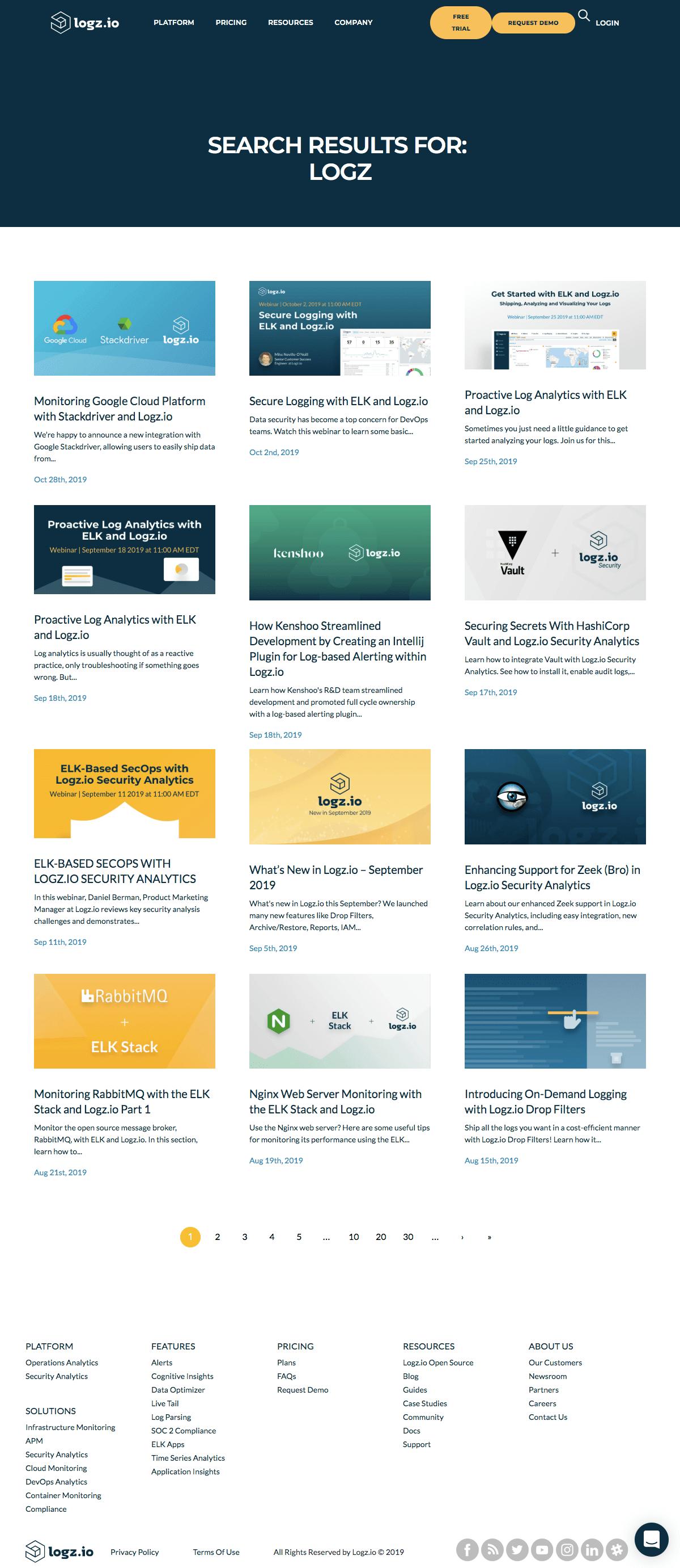 Logz.io - Search results page