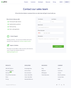 Plivo - Contact page