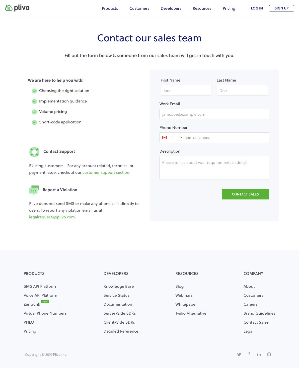 Plivo - Contact page