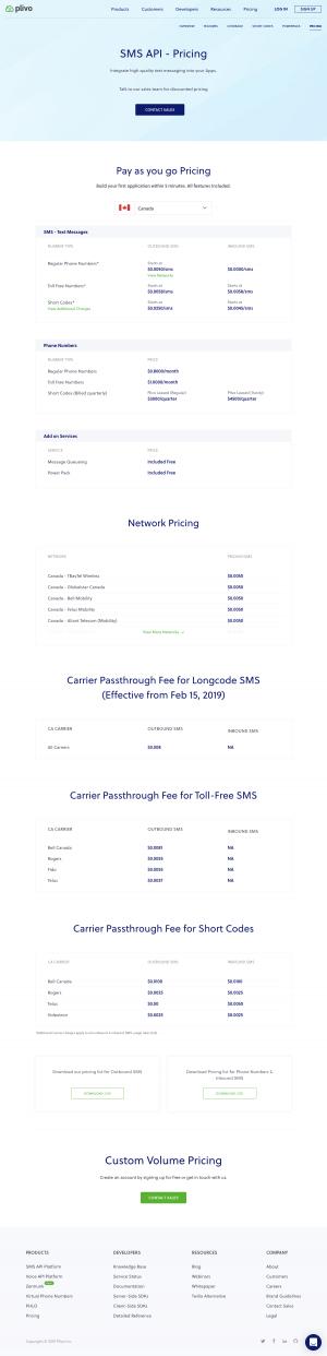 Plivo - Pricing page 2