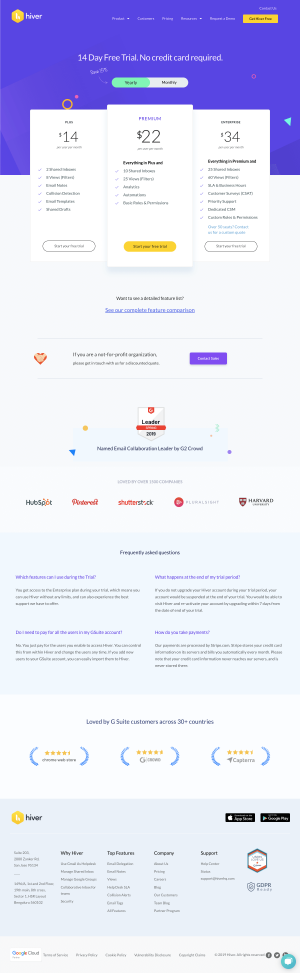 Hiver - Pricing page