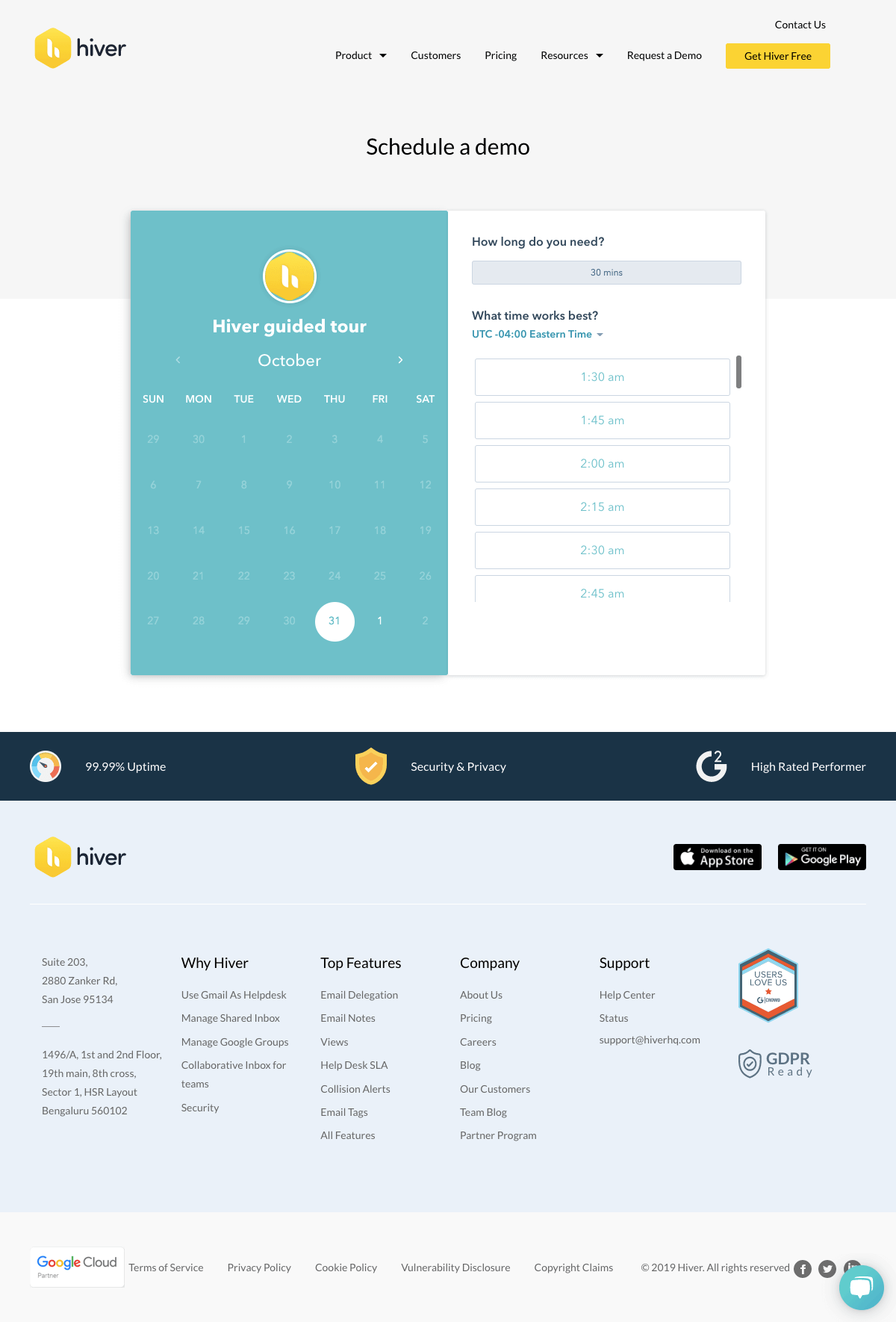 Hiver - Booking demo