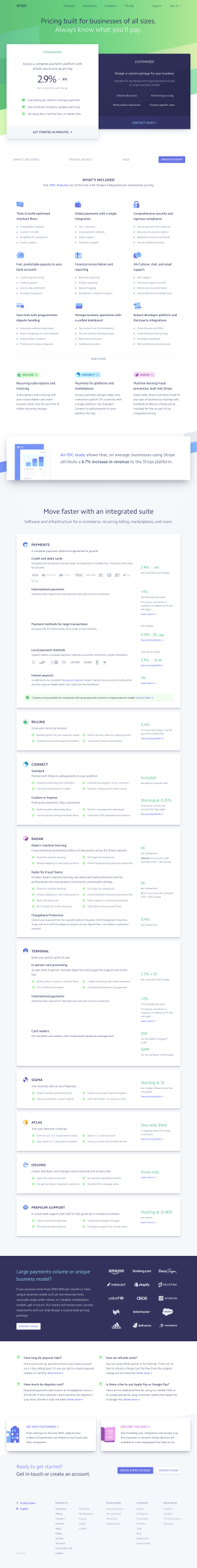 Stripe - Pricing page