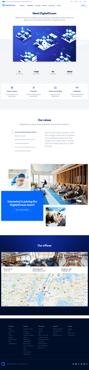 DigitalOcean - About us page