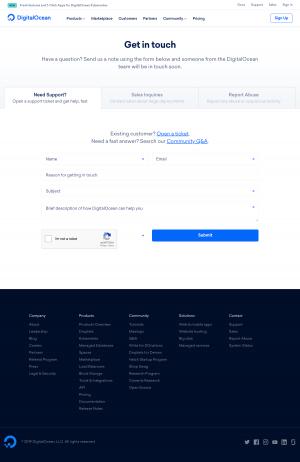 DigitalOcean - Contact page
