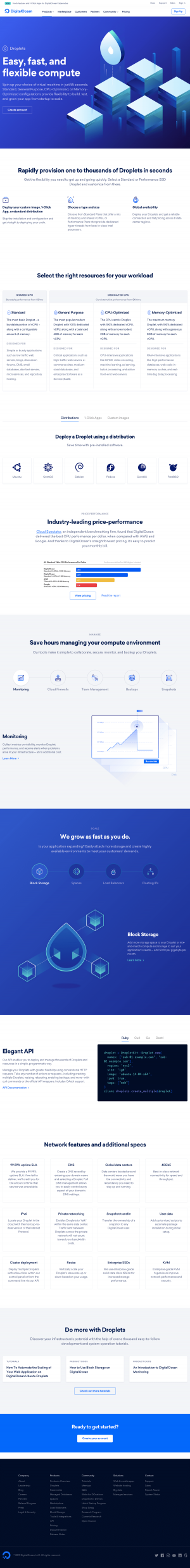 DigitalOcean - Features page 1