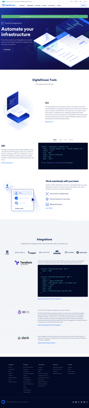 DigitalOcean - Integrations page
