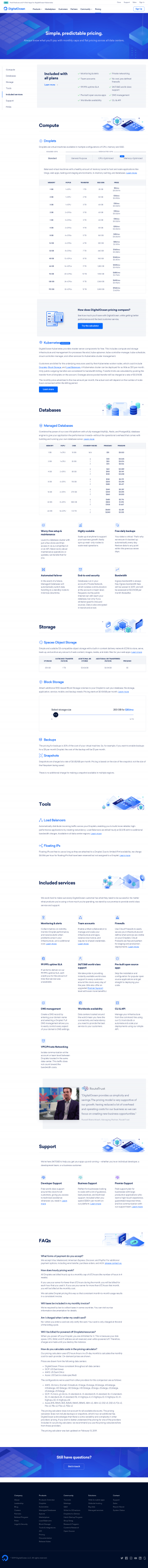 DigitalOcean - Pricing page