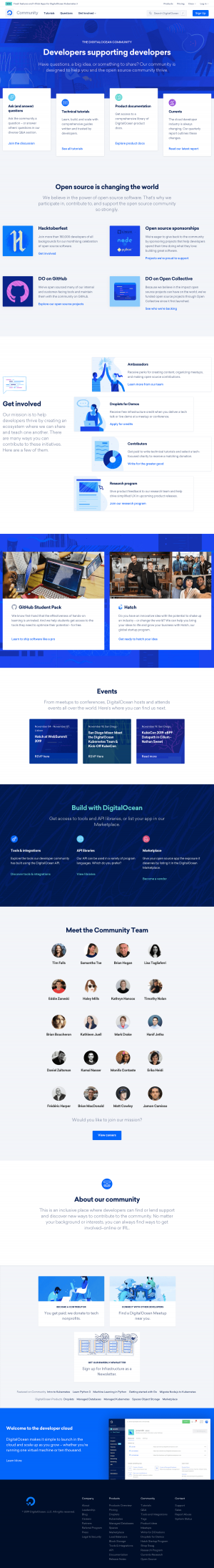 DigitalOcean - Support page