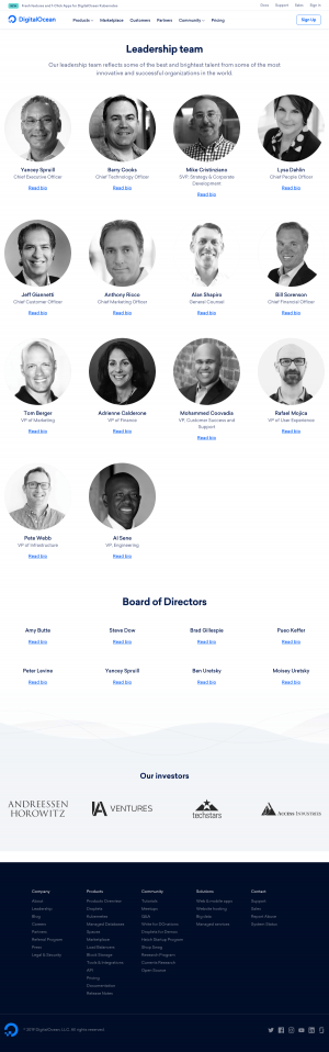 DigitalOcean - Team page