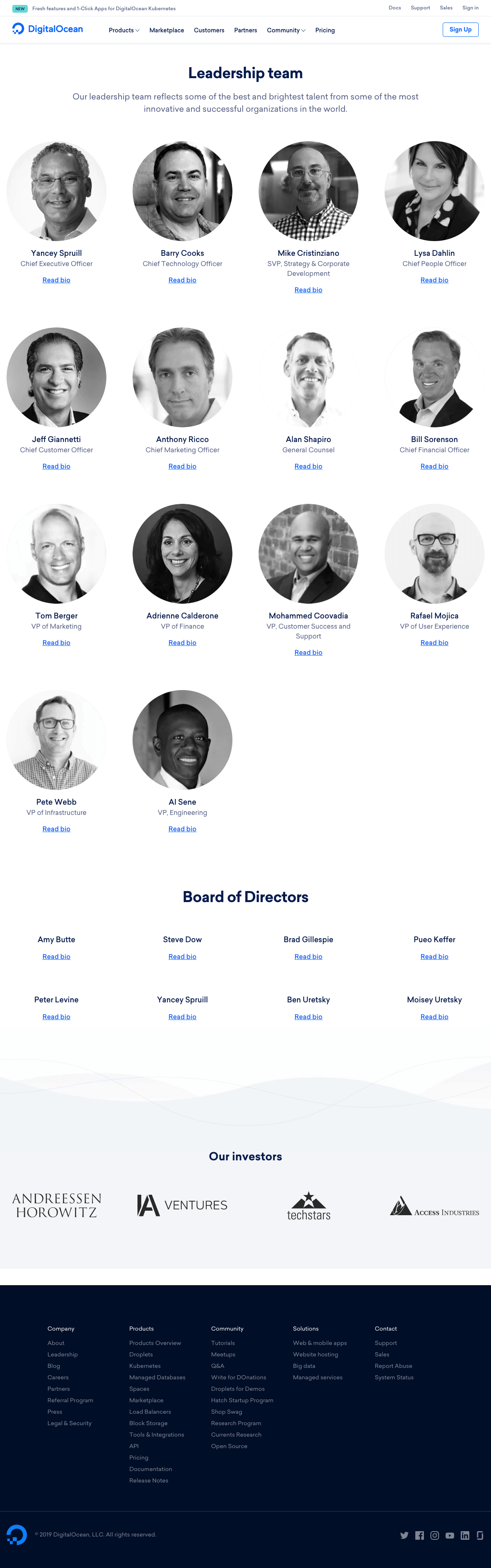 DigitalOcean - Team page