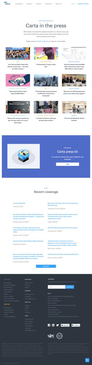 Carta - Media kit page