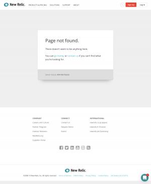 New Relic - 404 Error page