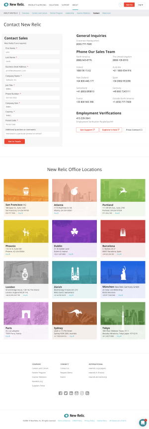 New Relic - Contact page