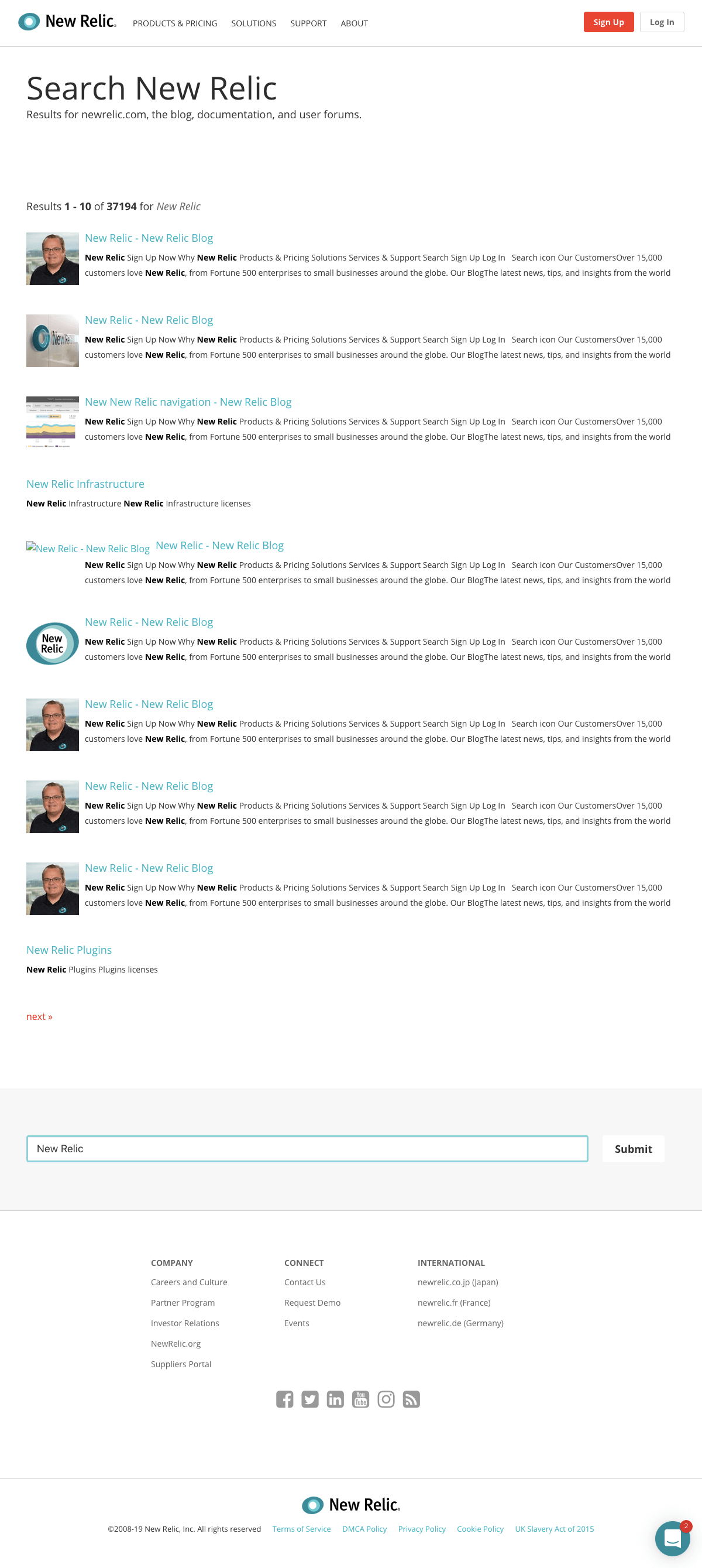 New Relic - Search results page