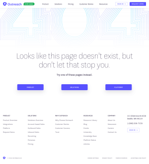 Outreach – 404 Error page