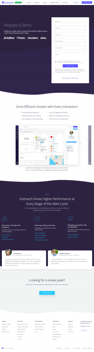 Outreach – Request a Demo page
