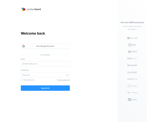 productboard – Login page