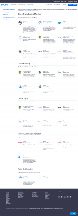 Zoom – Integrations page