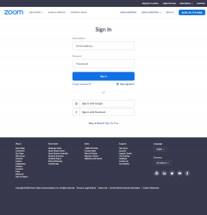 Zoom – Login page