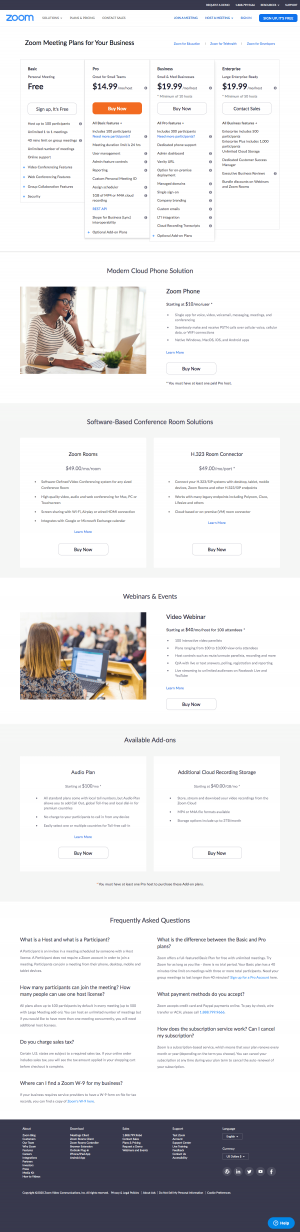 Zoom – Pricing page
