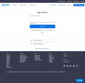 Zoom – Sign up page