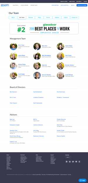 Zoom – Team page